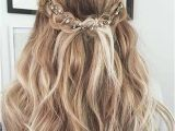 Homecoming Hairstyles Hair Down Romantic Half Updo with A Hairpiece Prom Hairstyles