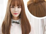 Korean Long Hair with Bangs Korean Air Bangs Wig Female Long Hair Pear Head Volume within Thin