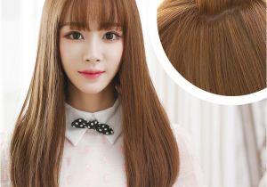 Korean Long Hair with Bangs Korean Air Bangs Wig Female Long Hair Pear Head Volume within Thin