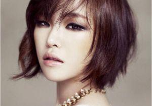 Korean Short Hair with Bangs Subtle Waves and A Slanting Bangs