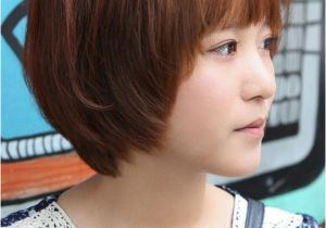 Korean Short Hair with Bangs Sweet Layered Short Korean Hairstyle Side View Of Cute Bob Cut In