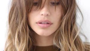 Medium Hairstyles Bangs Oval Face Long Bangs with Waves In Gentle Ombre Hair Cut Pinterest