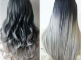 Medium Length Hairstyles Dip Dyed Ombre Hair Dark Grey to Silver Hair Gray Hair Dip Dyed Hair