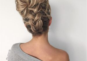 Messy Hairstyles Hair Up Upside Down Chunky Braid Into A Messy Bun