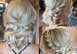 Prom Hairstyles Side Curls with Braid Textured Up Do for Blondes with Curls and Side Braid Bridal