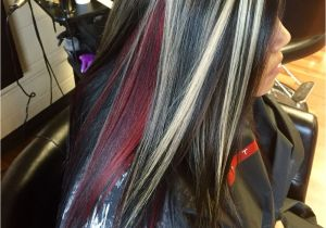Red Black and Blonde Hairstyles Chunky Blonde Highlights with All Over Black and A Red Halo