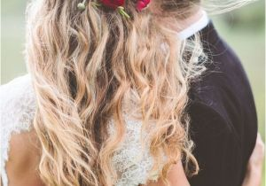Red Half Up Hairstyles Red Flower Detail In Wedding Hairstyle with Long Messy Waves