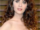 Sexy Long Curly Hairstyles Zooey Deschanel Y Long Curly Hairstyle with Wispy Bangs