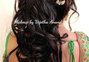 Simple Hairstyles On Saree for Long Hair Romantic Bridal Updo by Vejetha for Swank Bridal Hairstyle Curls