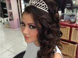 Sweet 16 Hairstyles Half Up Half Down with Tiara Luisa Perez Luisaperez13 On Pinterest