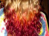 Tie Dye Hairstyles Red Hair Blonde Burgundy orange Tiedye Shiny Color