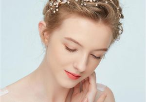Wedding Hairstyles and Headpieces Boho Gold Floral Headpiece Pearls Hair Jewelry for Bride Wedding