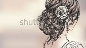 Wedding Hairstyles Drawing Stock Vector Vector Drawing Of A Beautiful Girl Bridal Hairstyle