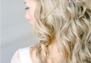 Wedding Hairstyles Half Up Braids Curly Half Up Wedding Hairstyle with Braid