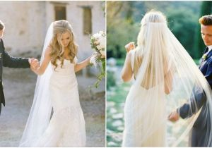 Wedding Hairstyles Long Hair Down Veil Long Veil with Hair Down