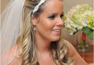Wedding Hairstyles Long Hair Down Veil Wedding Hair Half Up with Flower and Veil Wedding Diary