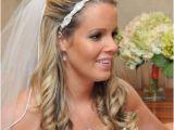Wedding Hairstyles Long Hair Half Up Veil Wedding Hair Half Up with Flower and Veil Wedding Diary
