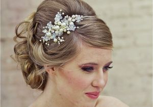 Wedding Hairstyles with Pearls Updo Hairstyle Flowers Pearls Wedding Headb