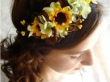Wedding Hairstyles with Sunflowers Sunflower Hair Wreath Wedding Headpiece Yellow Flower Crown