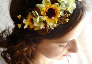 Wedding Hairstyles with Sunflowers Sunflower Hair Wreath Wedding Headpiece Yellow Flower Crown